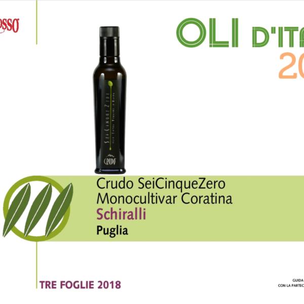 Crudo SeiCinqueZero - Coratina, Tre Foglie Gambero Rosso 2018