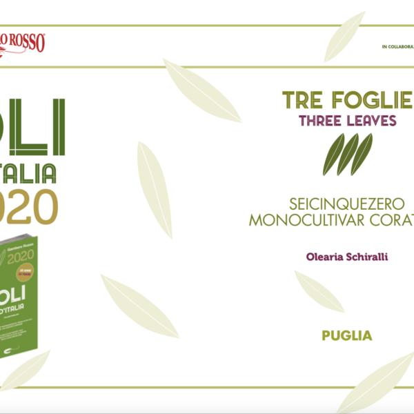 Crudo SeiCinqueZero - Coratina, Tre Foglie Gambero Rosso 2020
